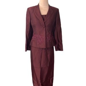 New Albert Nipon 3pc Suit Wool/Silk w/embroidery